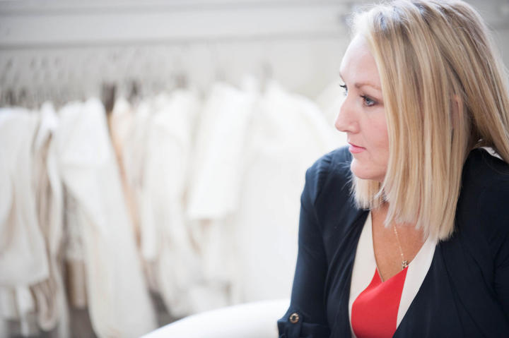 Heidi explained to Danielle that she could get a semi-custom look by shopping her Build A Bride collection.