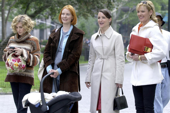 """Cynthia is photographed with her """"Sex and the City"""" castmates (left to right) Sarah Jessica Parker, Kristin Davis and Kim Cattrall. Cynthia was the only supporting character from the show to win an Emmy."""