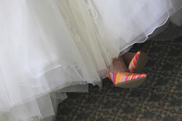 She adds pops of color throughout her wedding.