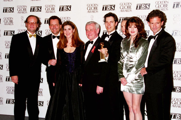 """Kelsey poses with his castmates from """"Frasier,"""" including Peri Gilpin, John Mahoney and Jane Leeves."""