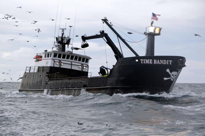The Time Bandit plows the Bering Sea.
