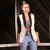 Top by Joie/joie.com, pants by ALC/alcltd.com, blazer by Cut 25/cut25.