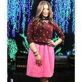 Polka Dot Sweater and Pink Skirt by