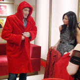 Clinton Kelly is seeing red in this coat while Stacy London has two more handy.