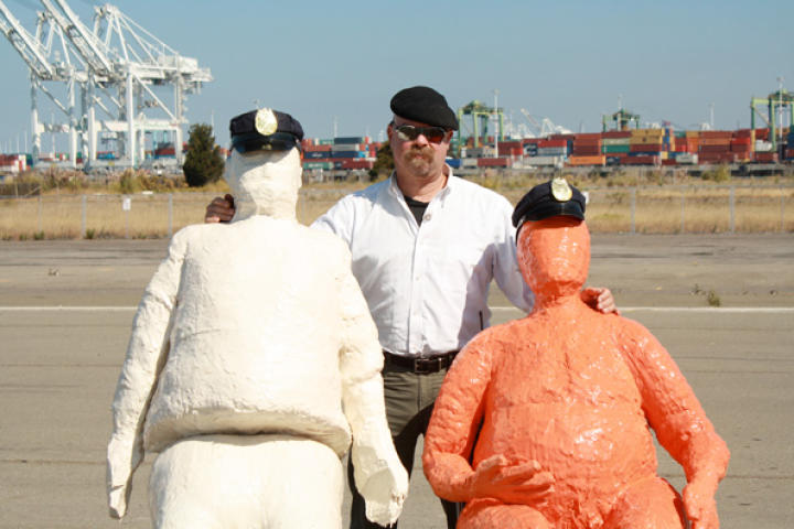 In Crash Cushions, Jamie Hyneman and Adam Savage take on a scene from the movie