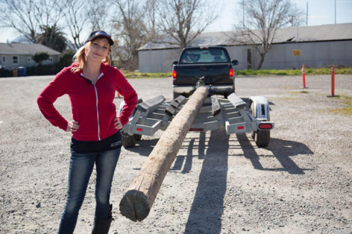 As it turns out, right before the MythBusters were to begin filming 2013's Bifurcated Boat, a barge passed through the area and knocked down the pole they were planning to use in their experiment. Luckily, there was a lumber yard nearby.