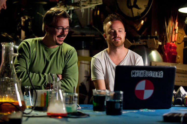 """The genesis of the special was a June 2012 interview that Vince Gilligan did in Vulture. When asked which show he'd like to do a crossover event with and why, Vince replied, """"MythBusters. I'd dig seeing those guys prove or disprove some of the crazy stuff we've done on Breaking Bad."""""""