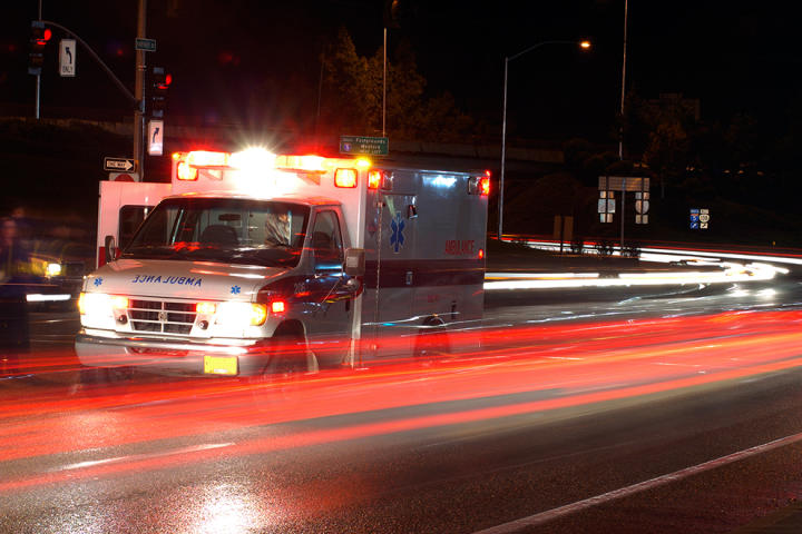 An ambulance at night
