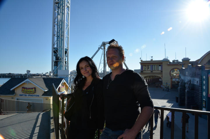 Nik Wallenda and his wife, Erendira, share a moment before a stunt.