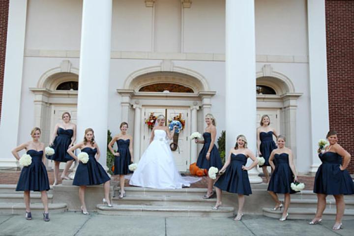 Stephanie and her bridesmaids strike a pose.