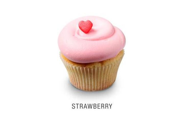 Strawberry  Classic madagascar bourbon vanilla cupcake baked with fresh strawberries and topped with a fresh strawberry frosting and a fondant heart.  More Cupcake Pictures