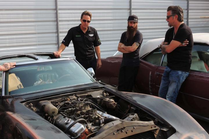Richard Rawlings, Aaron Kaufman and Dennis Collins with the original 1968 Corvette.