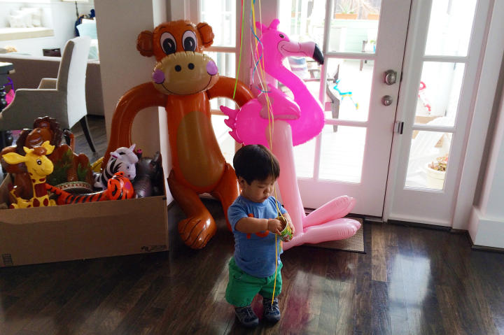 Will helps pack up all the decorations for his birthday party!