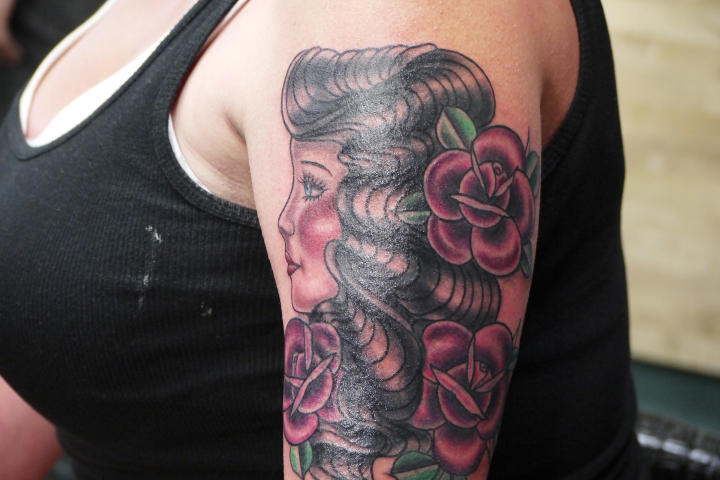 After: Tattoo artist Lisa Del Toro gave Amanda a fresh tattoo to cover-up her unwanted ink.