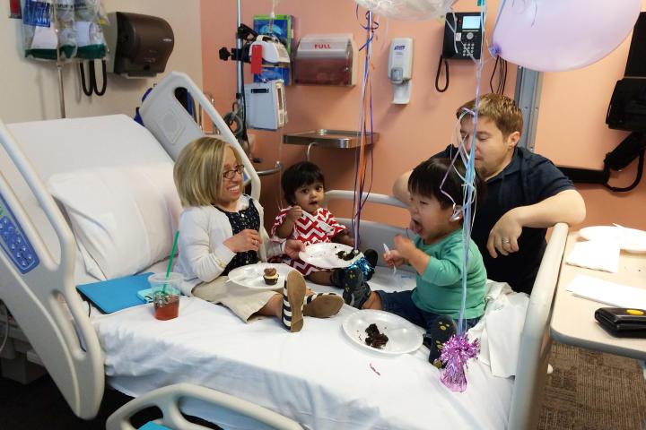 The family gathers to celebrate Jen's last chemotherapy treatment.