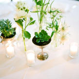 Go minimal with early spring centerpieces, like this collection of suc