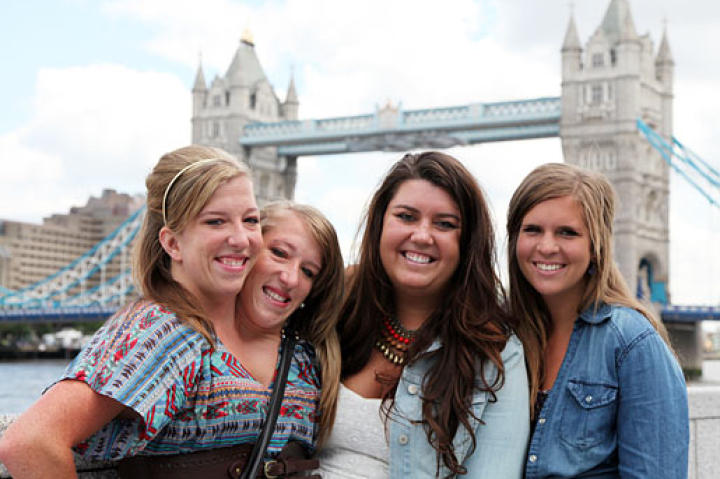Abby & Brittany with friends Erin and Becca near the London Tower Bridge.