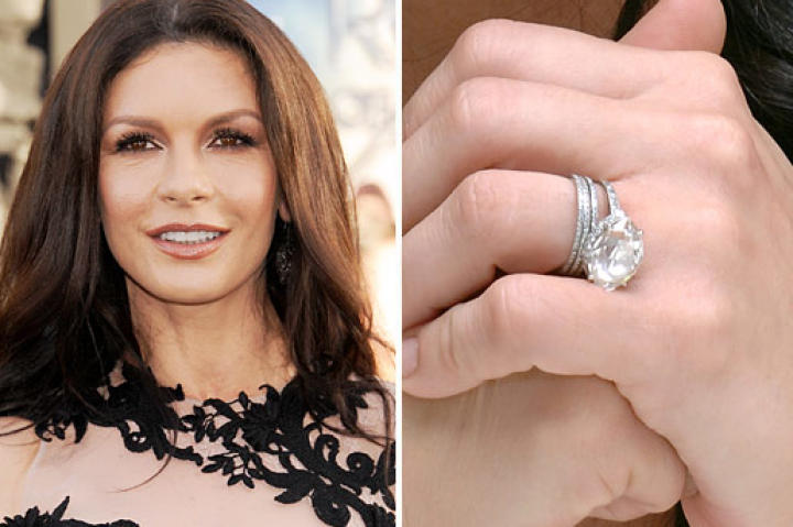 Catherine Zeta-Jones married Michael Douglas at New York City's Plaza Hotel in November 2000. The Welsh actress wears a 10-carat center stone surrounded by 28 smaller diamonds.