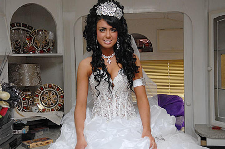 Danielle's unbelievable dress includes a sheer corset and glitzy tiara.