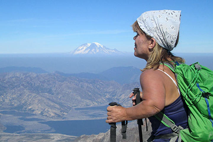Amy Roloff takes in the amazing view from her climb of Mount St. Helens.