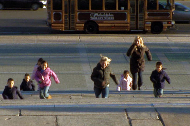 The Gosselin kids run up the Rocky steps at the Philadelphia Museum of Art.