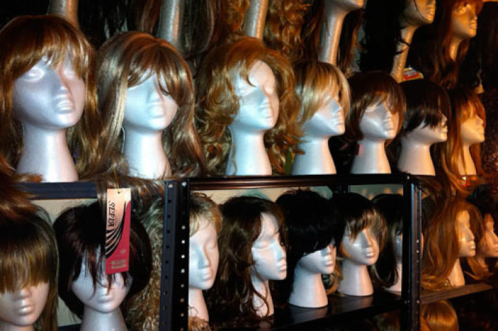 Tamis's wigs vary according to make, style, color, and length. She names the wigs after her friends.