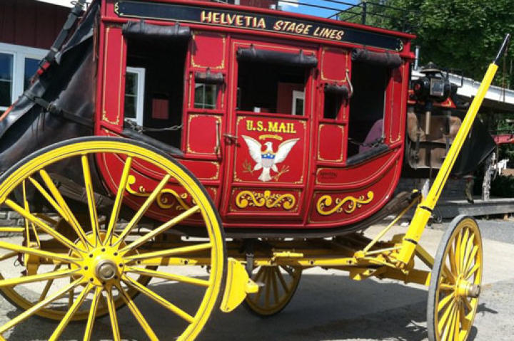 Brand new to Roloff Farm this season: beautifully handcrafted circa 1800 stagecoach replica.  Matt proudly re-named it