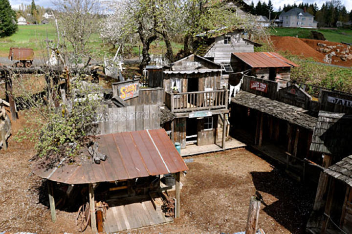 An unusual photo angle of the famous Western Town (shot by Jeremy Roloff from the roof of the town barn).