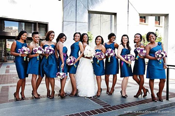 Asha's bridal party is brilliant in blue.