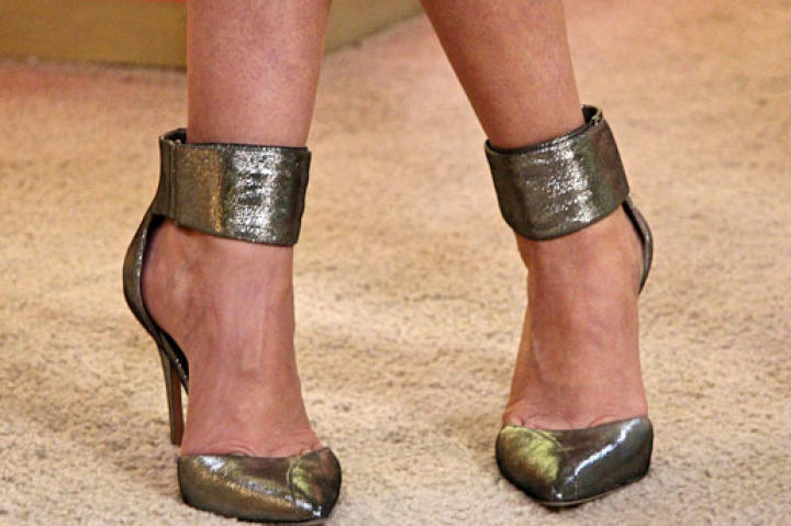 Silver Ankle Strap Pumps from