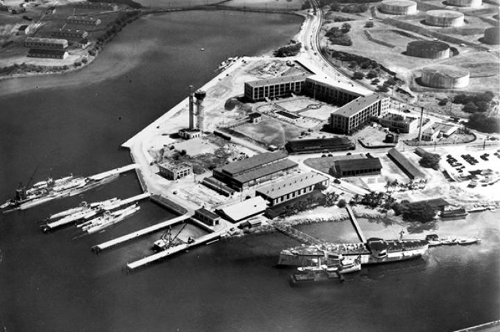 View of the U.S. Navy submarine base at Pearl Harbor in the early 1930s.