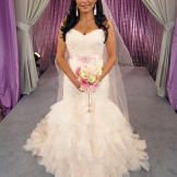 Kellie found bridal bliss in this $3,100 Dennis Basso gown.