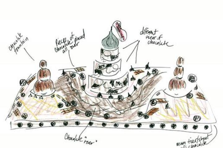 "BUDDY'S SKETCHBOOK   Simeon, a romantic husband, requested a cake for his 15th wedding anniversary.   Here's Buddy's sketch of the cake.    Click ""Next"" to see how the cake turned out and how they made it."