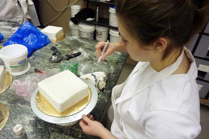 Leslie airbrushes a holiday cake.