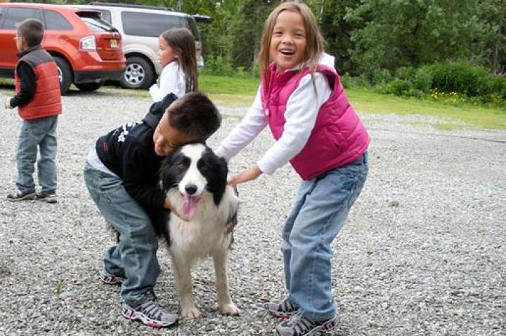 Alexis and Collin Gosselin with dog.