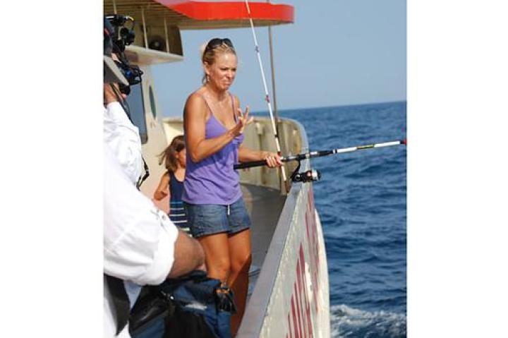Kate has a deep-sea fishing moment.