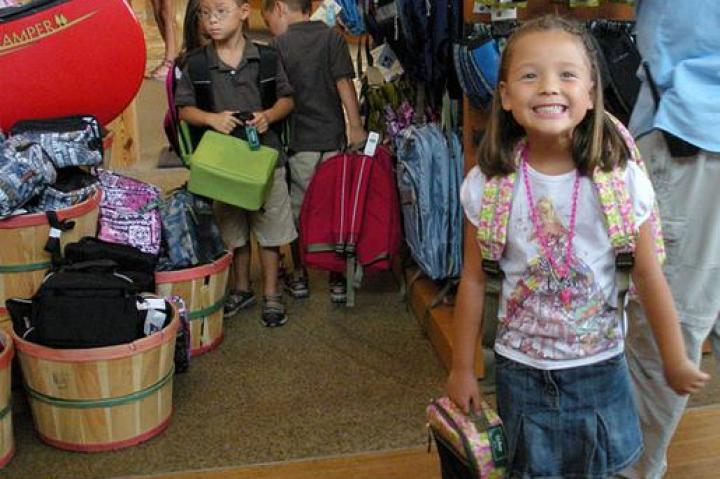 Eeeee!!!  Alexis is super excited about her new backpack and lunch box!!