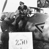Luftwaffe ace Günther Rall is seen here alighting from his ME-109 after his 250th aerial victory.