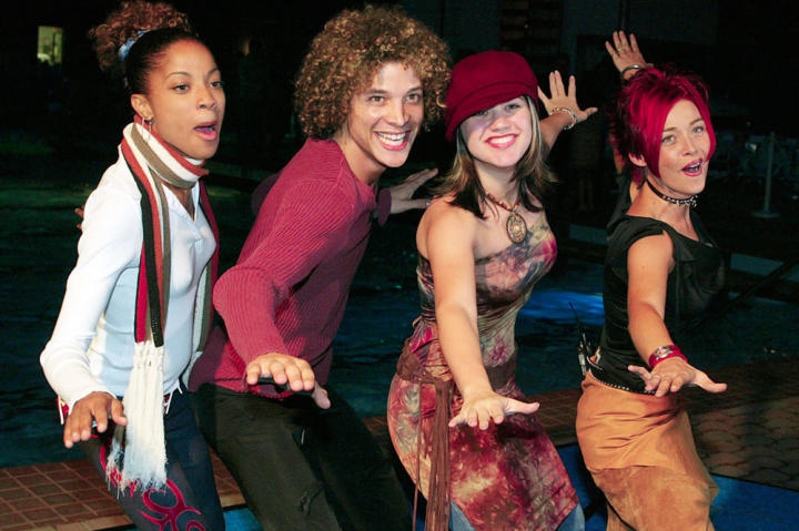 """Tamyra Gray, Justin Guarini, Kelly Clarkson and Nikki McKibbin, the four finalists of """"American Idol: The Search for a Superstar,"""" in 2002."""