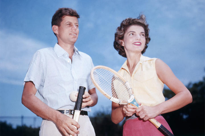 John and Jackie, engaged to be married, play tennis together.