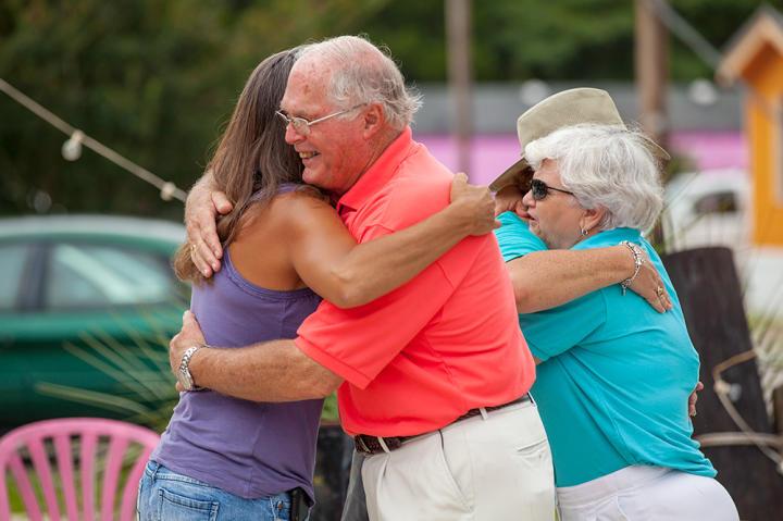 Cecil gives Jeana a hug goodbye.