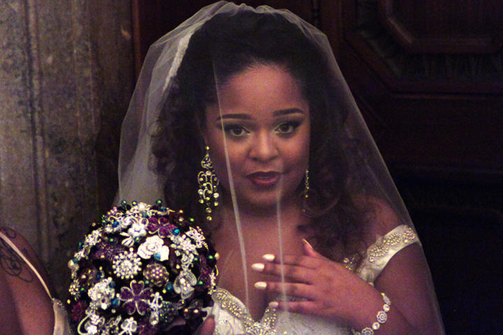 Terron rocks her Something Borrowed dress with a stunning brooch bouquet.