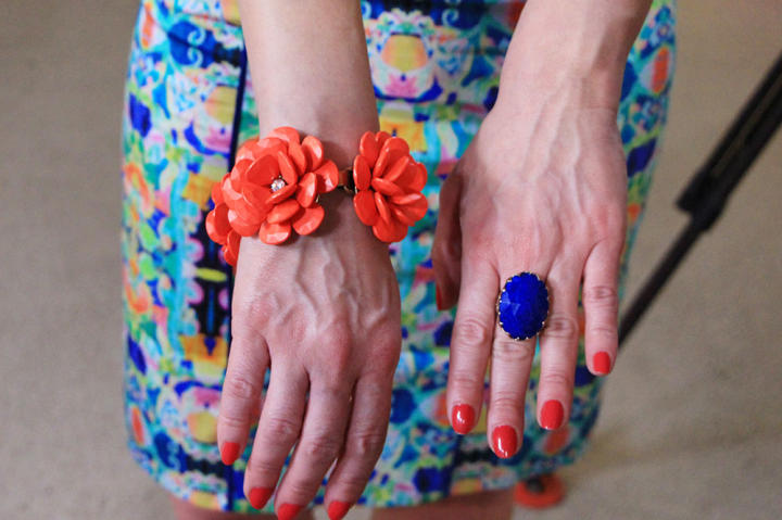 Red Flower Bracelet by J. Crew, Blue Ring by Amrita Singh