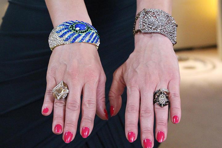 Starburst Gem Ring by Lulu Frost, Crystal Ring by Swarovski, Silver Gem Bracelet by Lulu Frost, Gem Peacock Bracelet by Amrita Singh Jewelry