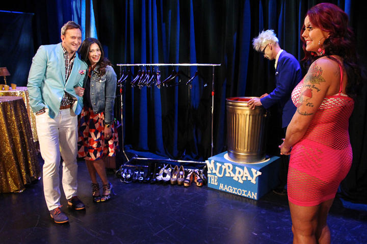 With the help of a magician, Stacy and Clinton made Dawn's wardrobe disappear.