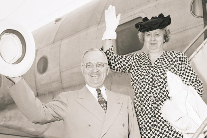 Harry and Bess Truman Wave from Plane Ramp