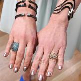 Gold Leaf Ring by J. Crew, Blue Rhinestone Ring by Henri Bendel, 3 bra