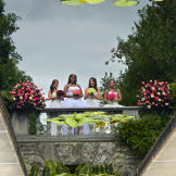 Brides Laura, Vanessa, Jenny and Stephanie's reflections in the founta