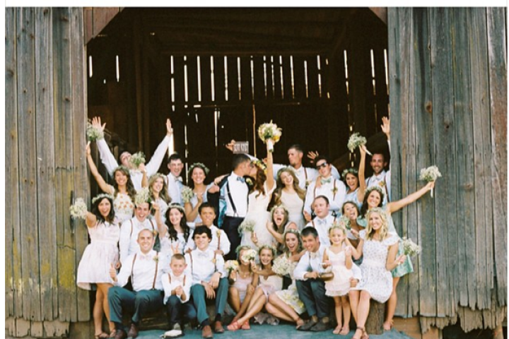 The entire bridal party -- 12 bridesmaids and 11 groomsmen -- show their love for Audrey and Jeremy in this happy snapshot. If you missed the wedding episode,