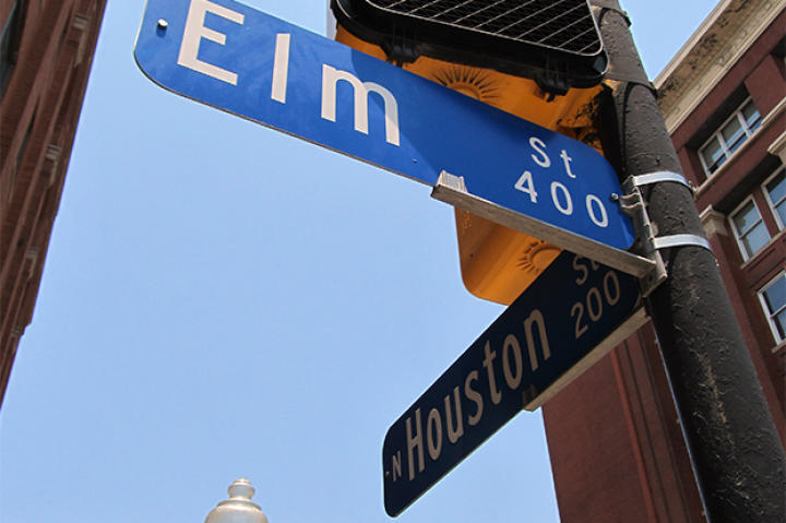 Elm and Houston Street Sign, the motorcade route.
